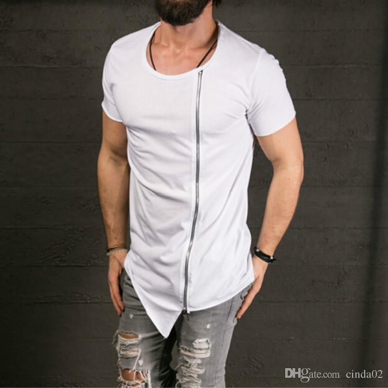 New Men'S Fashion Show Stylish Long T Shirt Asymmetrical Side ...