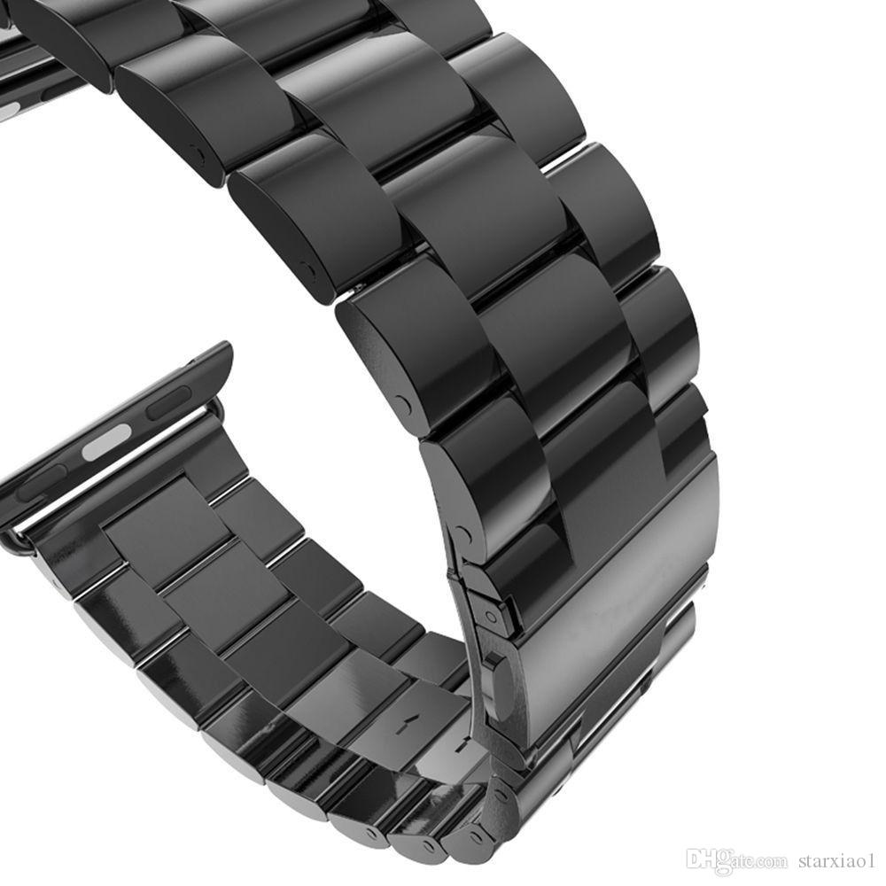 For iwatch Stainless Steel Strap series 40/44mm Buckle Adapter Link Bracelet Space Gray Watch Band for Apple Watch & Sport & Edition 42/38mm