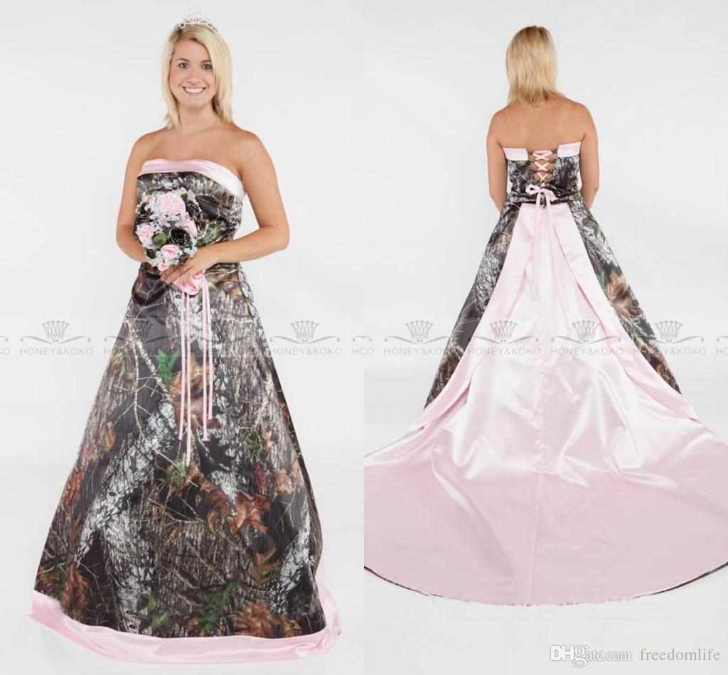 f19144ba6bf35 Discount Glamorous 2017 Camo Wedding Dresses A Line Plus Size Formal Pink  Satin Camouflage Bridal Gowns Strapless Sexy Lace Up Back Wedding Gowns  Wedding ...