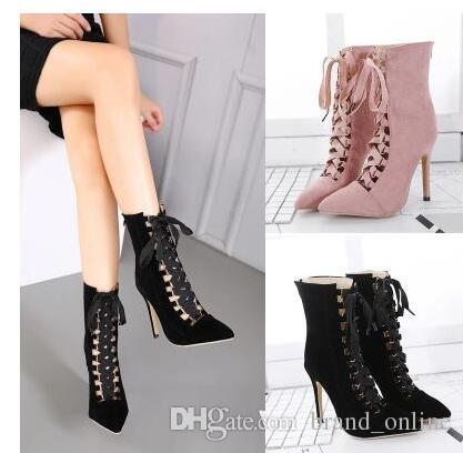 Woman Strappy High Heels Pumps Sexy Ladies Ribbon Lace Up Pointy ...