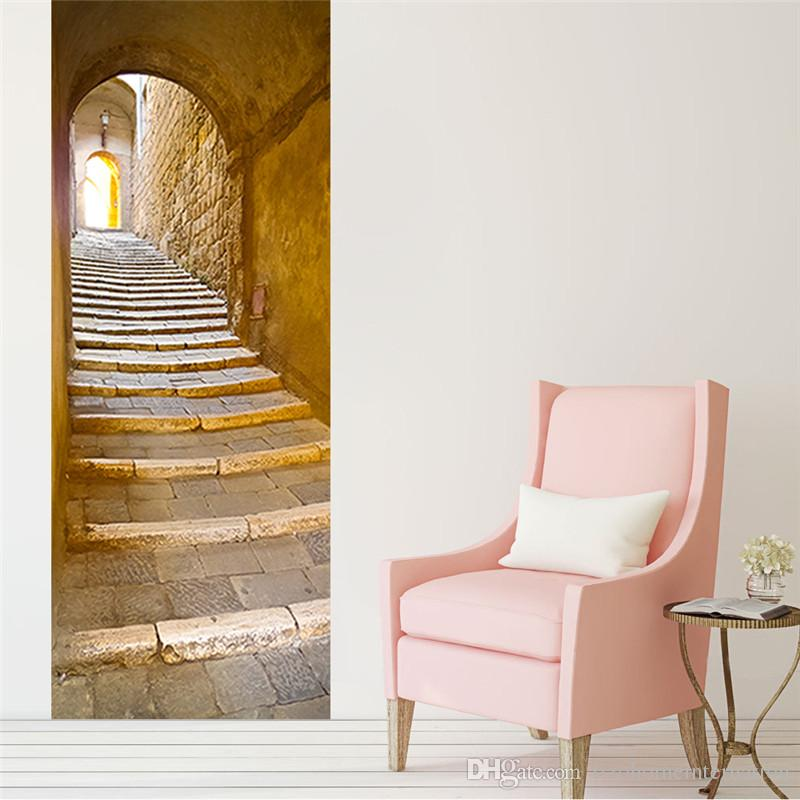 El Estilo Europeo Escaleras de Piedra Pegatinas de Pared 3D PVC auto-adhesivo Wallpaper Impermeable Decoración de la Puerta de la Habitación