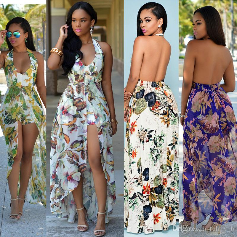 31f79a58eb7 Long Maxi Dress Europe And America Women Floral Flower Boho Halter ...