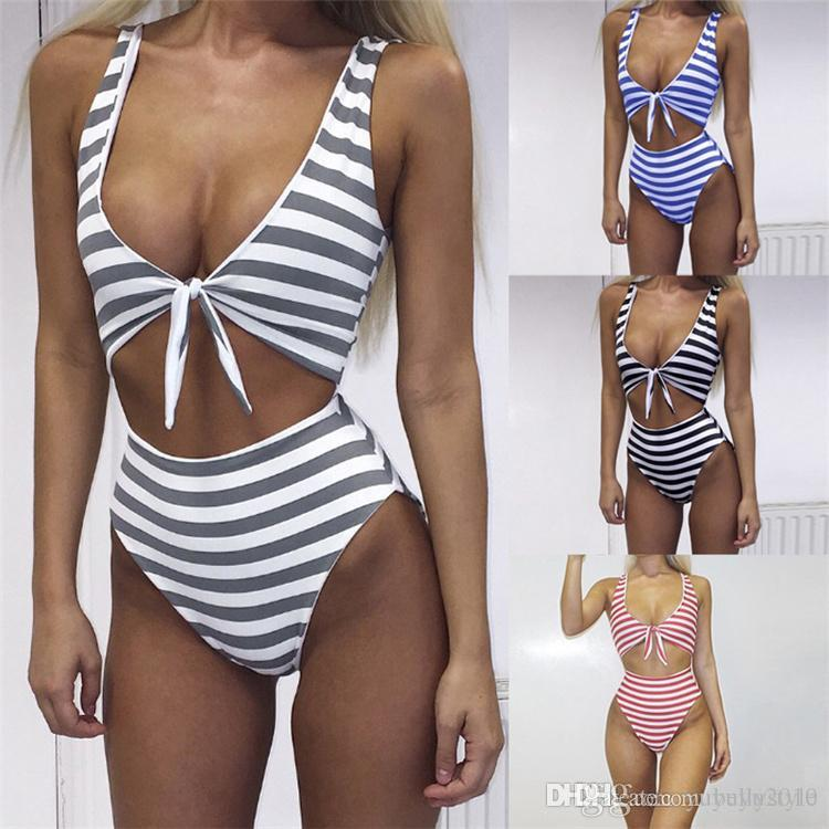 84c65553a8492 2019 2017 Sexy Black White Striped Women One Piece Swimsuit High Cut  Bandeau Monokini Backless Bathing Suit Padded Strap Swimwear ONY001 From  Bellystyle