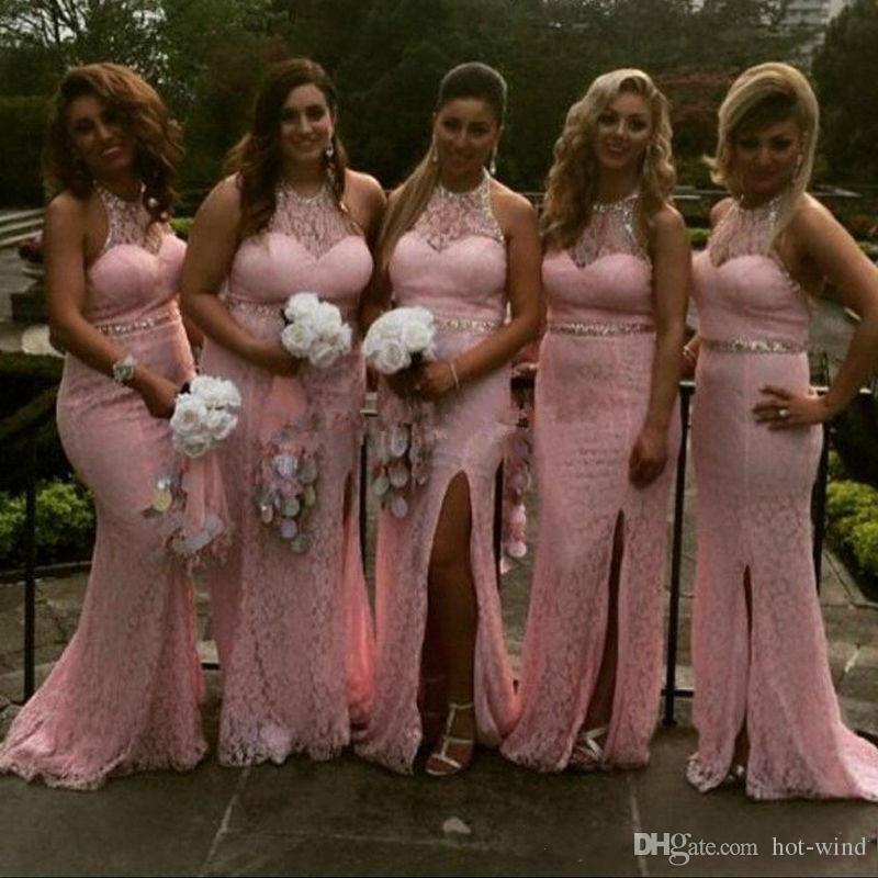 2017 New Elegant Pink Mermaid Bridesmaid Dresses Halter Neck Full Lace Sequins Maid of Honor Gowns Side Slit Wedding Party Guest Dresses