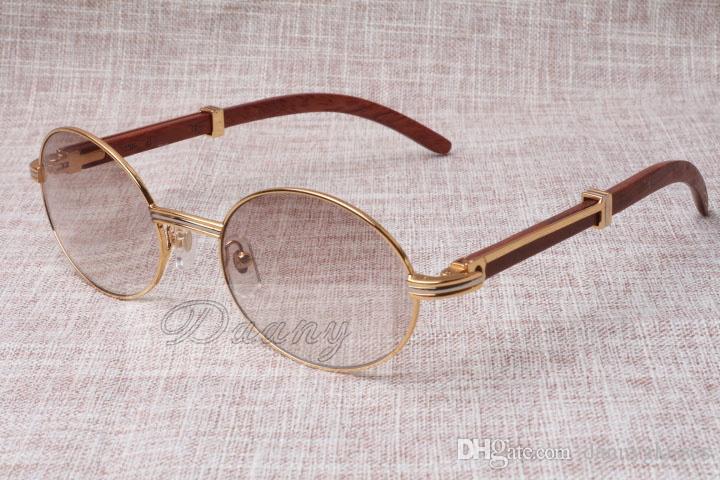 Gafas redondas Gafas de sol con forma de cuerno de ganado 7550178 Madera Hombre y mujer gafas de sol glasess Gafas Tamaño: 55-22-135mm