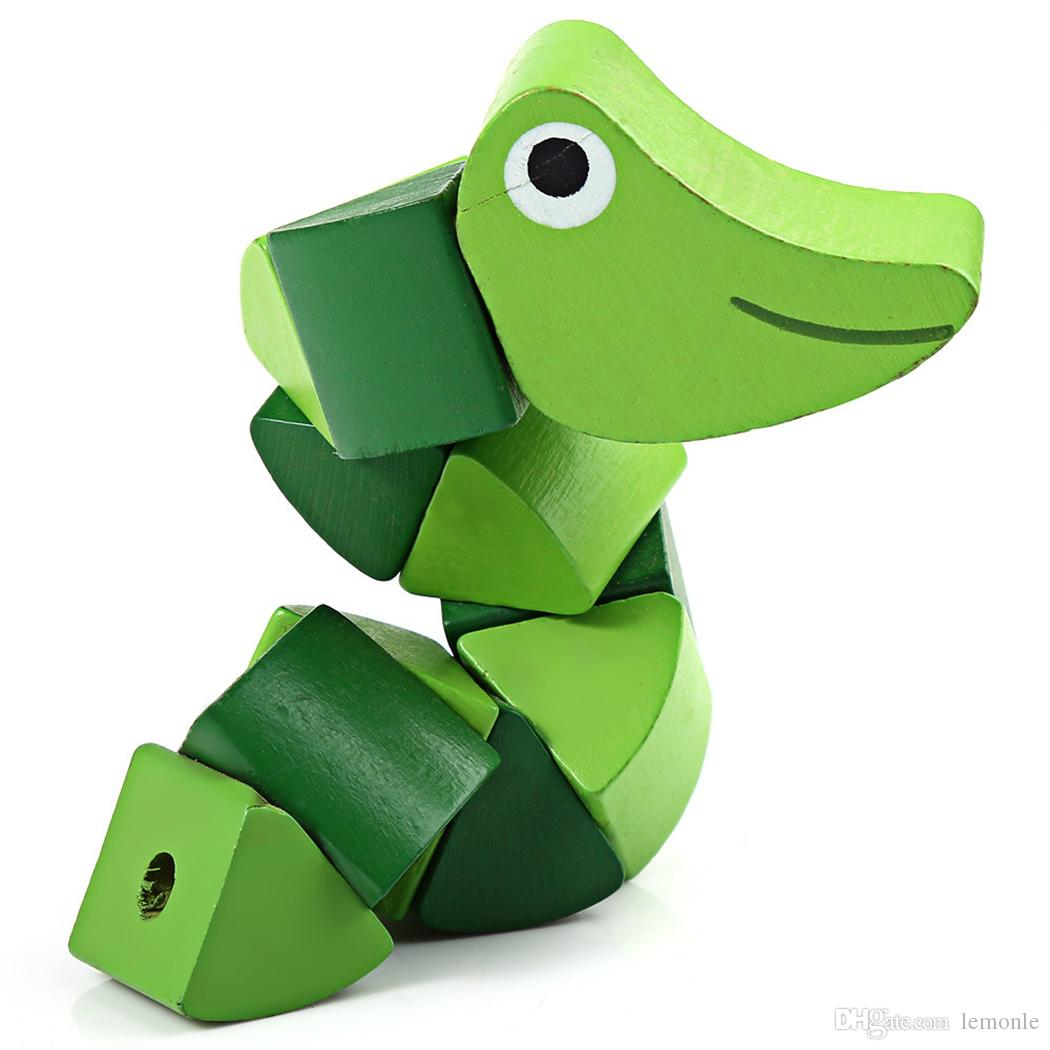 Cute Cartoon Colorful Insert Puzzles Infant Flexible Training Science Twisting Worm Toys Newborn Educational Wooden Toys Baby Birthday Gift