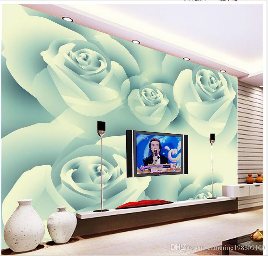 Custom any size Modern minimalist white rose background wall mural 3d wallpaper 3d wall papers for tv backdrop