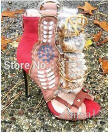 2017 neueste design brandneue multi-color lace up offene spitze high heel sandalen ausschnitte ring schnalle sandale booties großhandelspreis