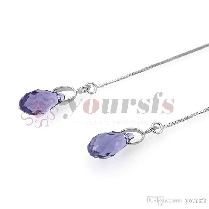 Yoursfs mode-sieraden 18k vergulde paars water drop zirkoon oorlijn hanger oorbellen vrouw verjaardag verjaardagscadeau