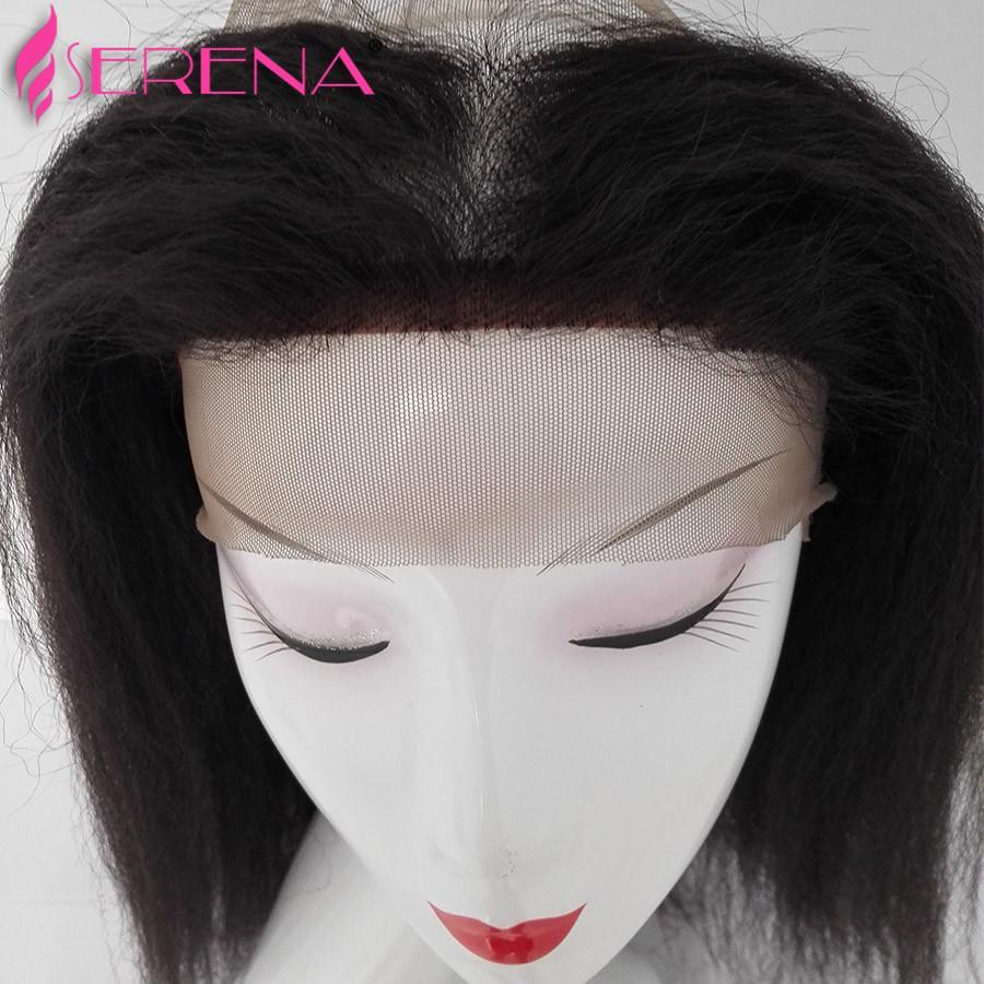 Brasileiro Pré Arrancadas Lace Frontal Encerramento Com Bundles Kinky Em Linha Reta 360 Frontal Yaki cabelo PrePlucked 360 Fechamento de Renda Frontal