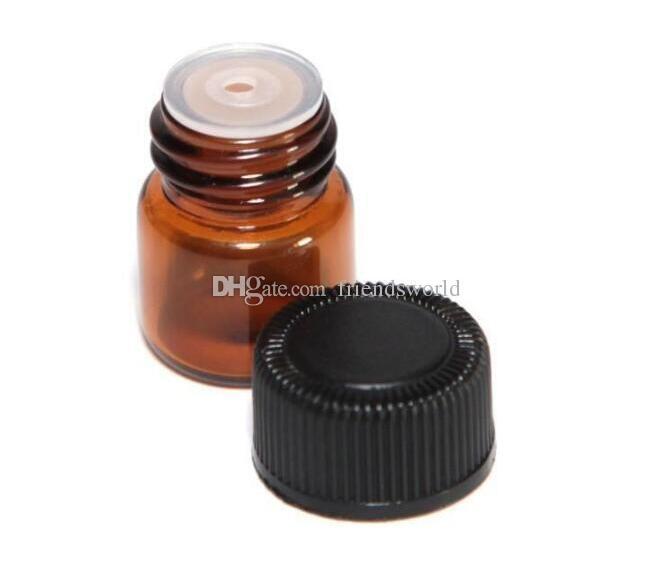 1 ml 1/4 dram frasco de vidro âmbar garrafa de óleo essencial de amostra de perfume garrafa com Plug and caps