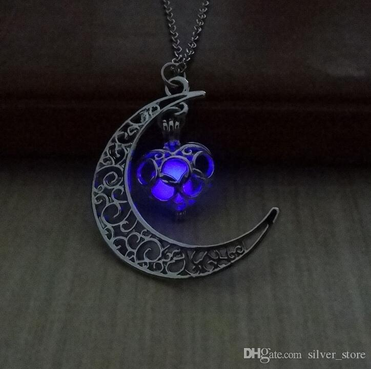 High quality Star Moon Time Night Lights Necklace Luminous Love Pendant Female WFN150 with chain a