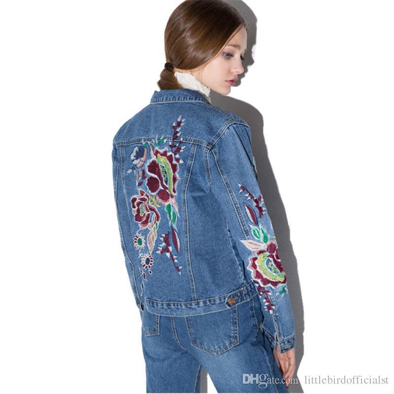 Kadınlar Zarif Nakış Denim Ceketler 2017 Moda Bağbozumu Tek Göğüslü Temel Ceket Ince Jean Ceket Giyim