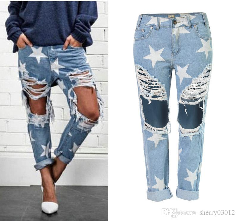 cheapest price best pretty cool 2017 Spring Casual Ripped Jeans Fashion Designed Women Jeans Stars Printing  Loose Straight Ripped Holes Jeans Boyfriends Style Denim Pants