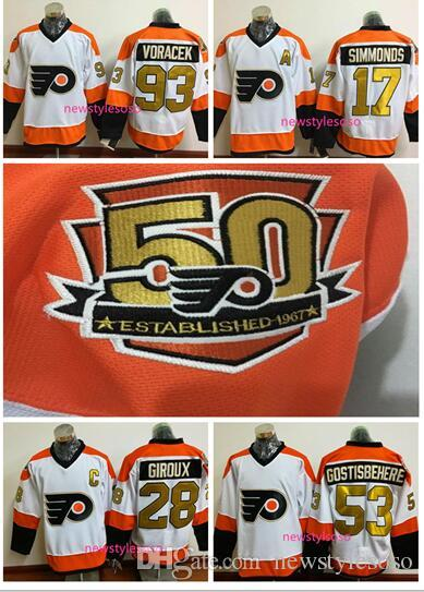 Online Cheap 50th Anniversary Philadelphia Flyers Jerseys Ice Hockey 53  Shayne Gostisbehere Jersey 93 Jakub Voracek 17 Wayne Simmonds 28 Claude  Giroux By ... ced52a3e7