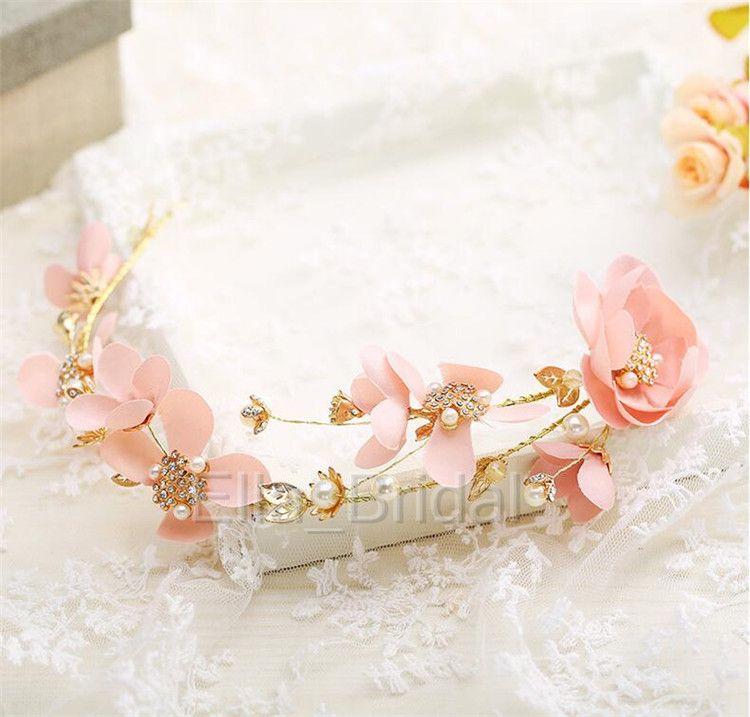 New Peach Pink Bridal Flower Headpiece High Quality Beautiful Handmade Pearl Beaded Hairband Headband Romantic Fairy Vivid Hair Accessory