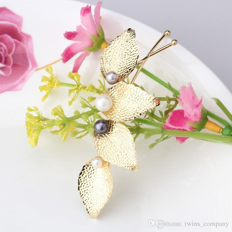 Женщины прическа листья заколки для женщин повязки девушки заколки цветок волос Aaccessories женщины Жемчужина с листьями заколки