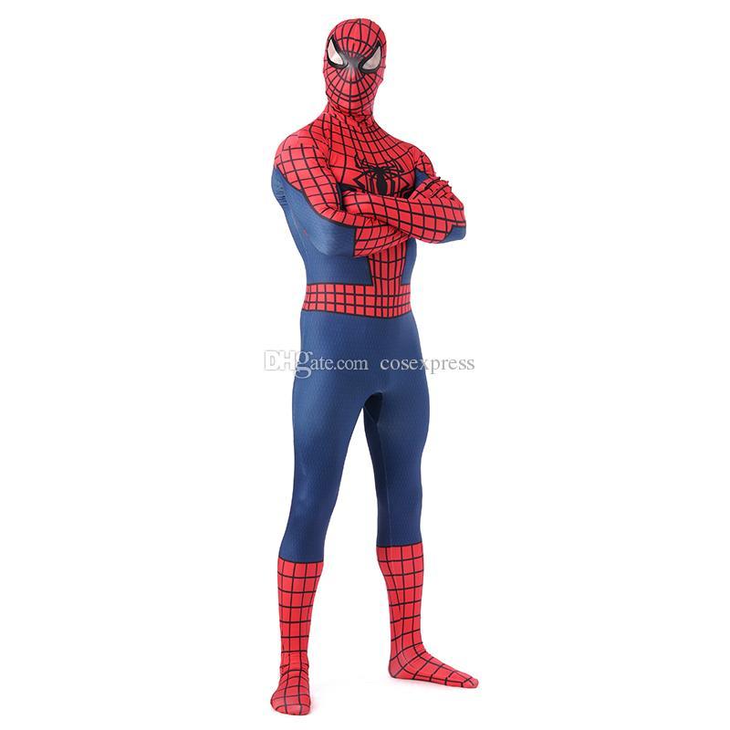 De haute qualité classique rouge et bleu lycra spandex complet du corps spider-man zentai costume super-héros spiderman cosplay costume combinaison pour Halloween