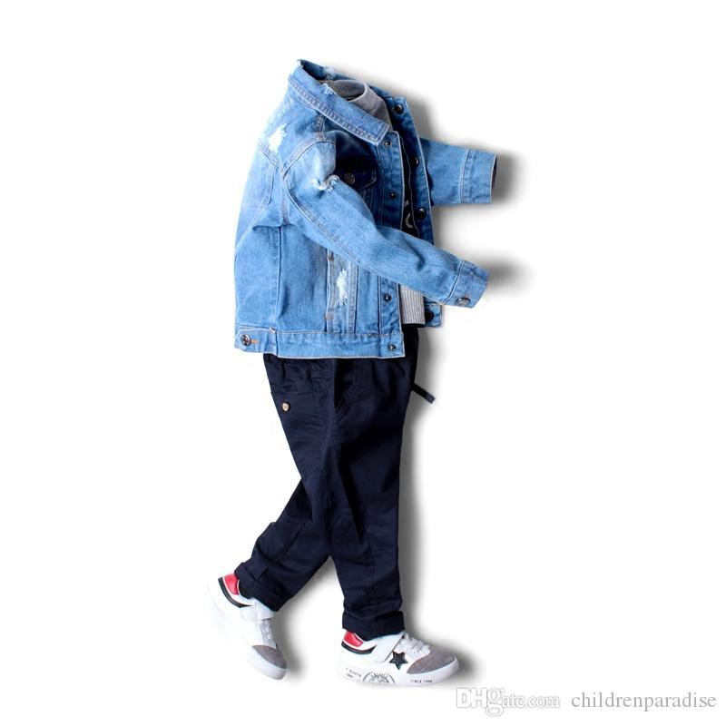 2017 Baby Boy Jeansjacke Freizeit Mantel Kinder Kinder Jeans Jungen Mädchen Zerrissenen Jeans Jacken Kinder Jeansjacke Strickjacke Mantel