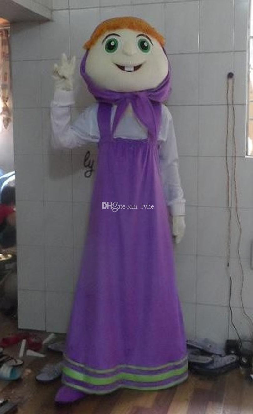 Compre Ropa Púrpura Masha Niña Tamaño Adulto Traje De La Mascota De ...