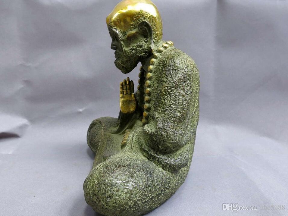 """9"""" China bronze gild buddhism copper carved sculpture beautiful buddha Statue"""