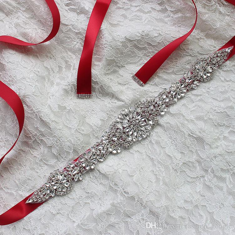 Handgemachte Hochzeit Braut Schärpen 2017 mit Bling Bling Crystals Elfenbein Weiß Schwarz Rosa Rot Lila Champagner Dunkelgrün Ribbon Bridal Gürtel