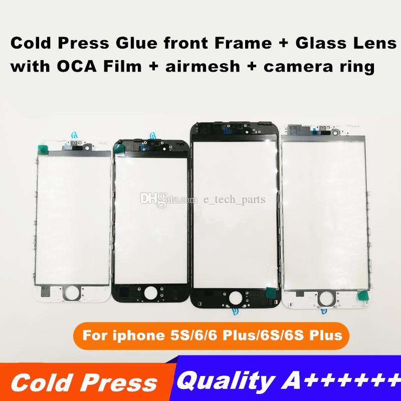 Soğuk Pres Tutkal ön Çerçeve + Cam Lens ile OCA Filmi + airmesh + kamera halka Ön-montajı için iPhone 5 S 6G 6 Puls 6 S 6 S Puls