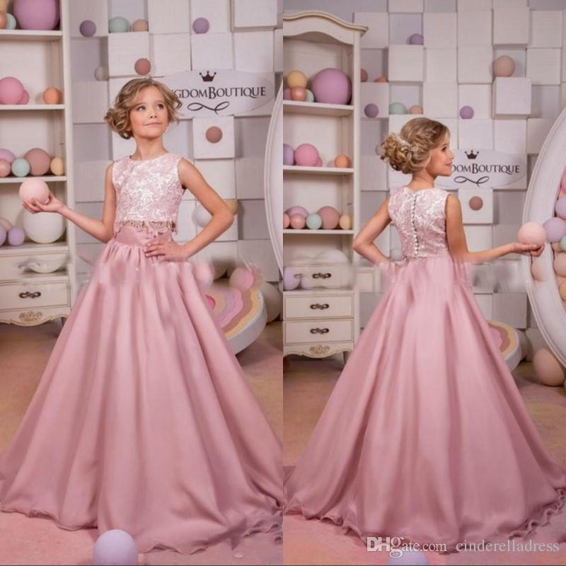 2018 Dusty Pink Two Piece Pageant Dresses Lace Top Long Chiffon ...