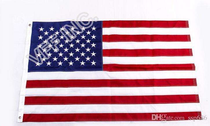 Bandiera degli Stati Uniti Ricamo Bandiera Americana Stelle ricamate e strisce cucite 3ft x 5ft poliestere Banner Flying 150 * 90cm Bandiera personalizzata