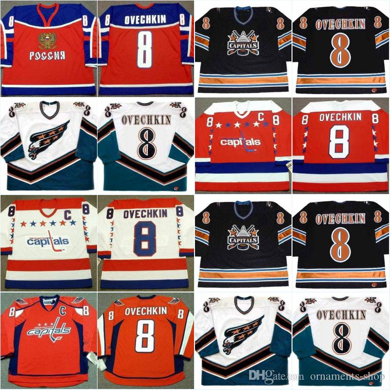 7e9e1a5a536 2019  8 Alexander Ovechkin Jersey Men S 2004 Team Russia Washington  Capitals 2005 Stitched Embroidery Logos Vintage Throwback Hockey Jerseys  From Ornaments ...