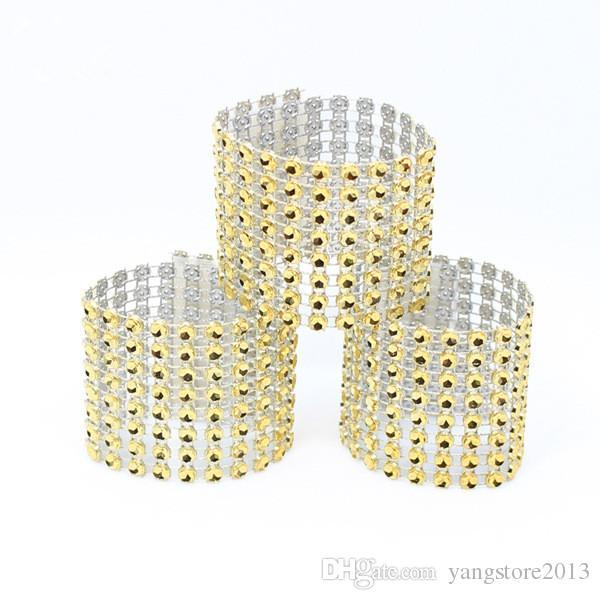 Freies Verschiffen 100 Strass-Bogenabdeckungen Neue 8 Reihe - Silber und andere 8 Farben Hochzeitsstuhl Sash-Napin Ringe Hochzeit Lieferanten