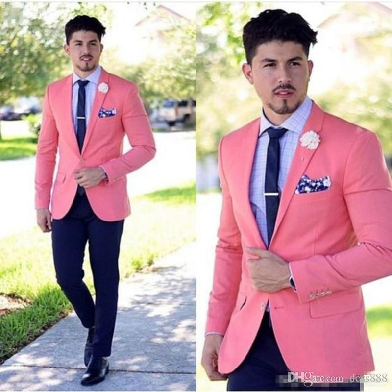 Classy Peach Wedding Mens Suits Slim Fit Bridegroom Tuxedos For Men Two Pieces Groomsmen Suit Formal Business SuitJacket+Pants