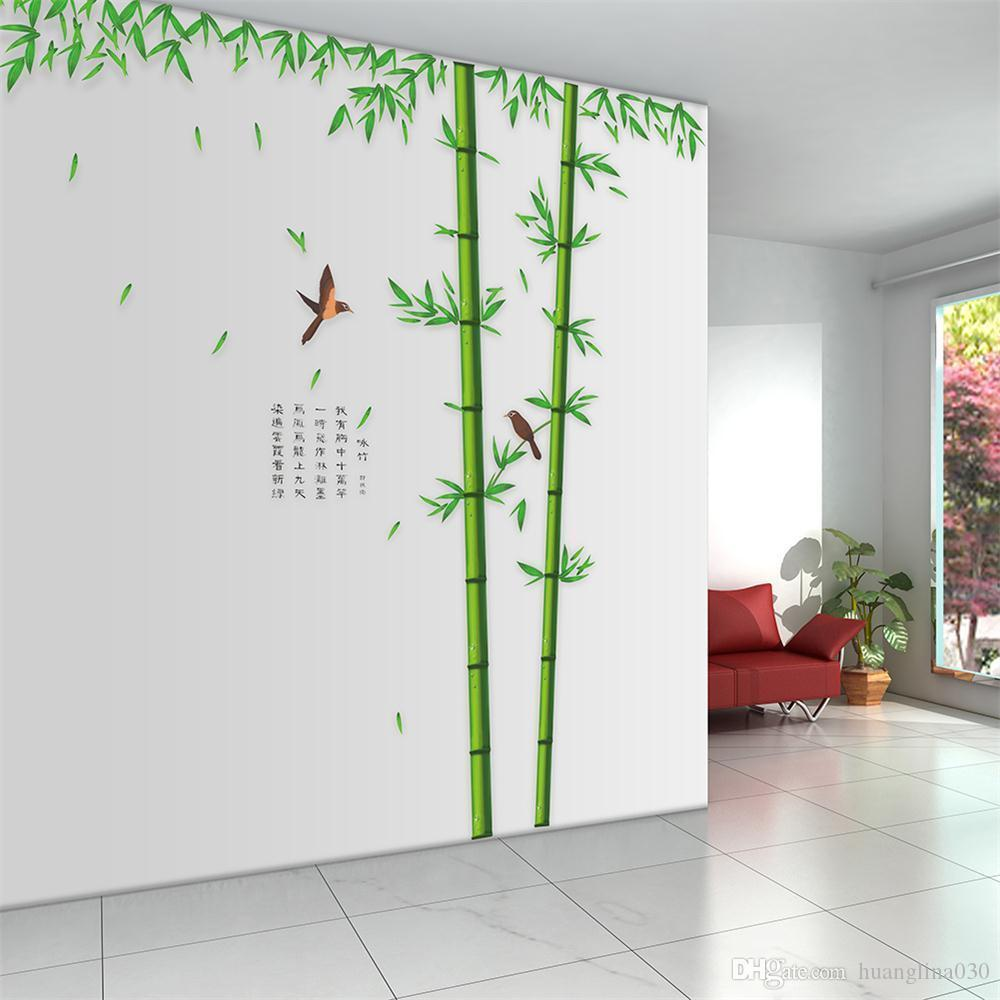 wholesale diy creative pvc removable huge bamboo mural poem art see larger image