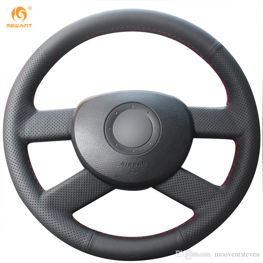 Mewant Black Genuine Leather Car Steering Wheel Cover for Volkswagen VW Polo 2003 2004 2005 2006