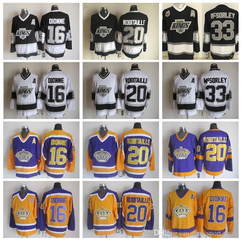 on sale a485a d920e Men 20 Luc Robitaille Jerseys Los Angeles Kings Hockey 33 Marty McSorley 16  Marcel Dionne Vintage CCM Black White Yellow Purple