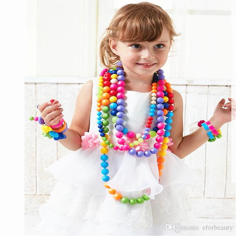 Snap-Lock Threading Beads Toys Handmade DIY Crafts Arts Jewelry Making Kits Gift for Kids Children