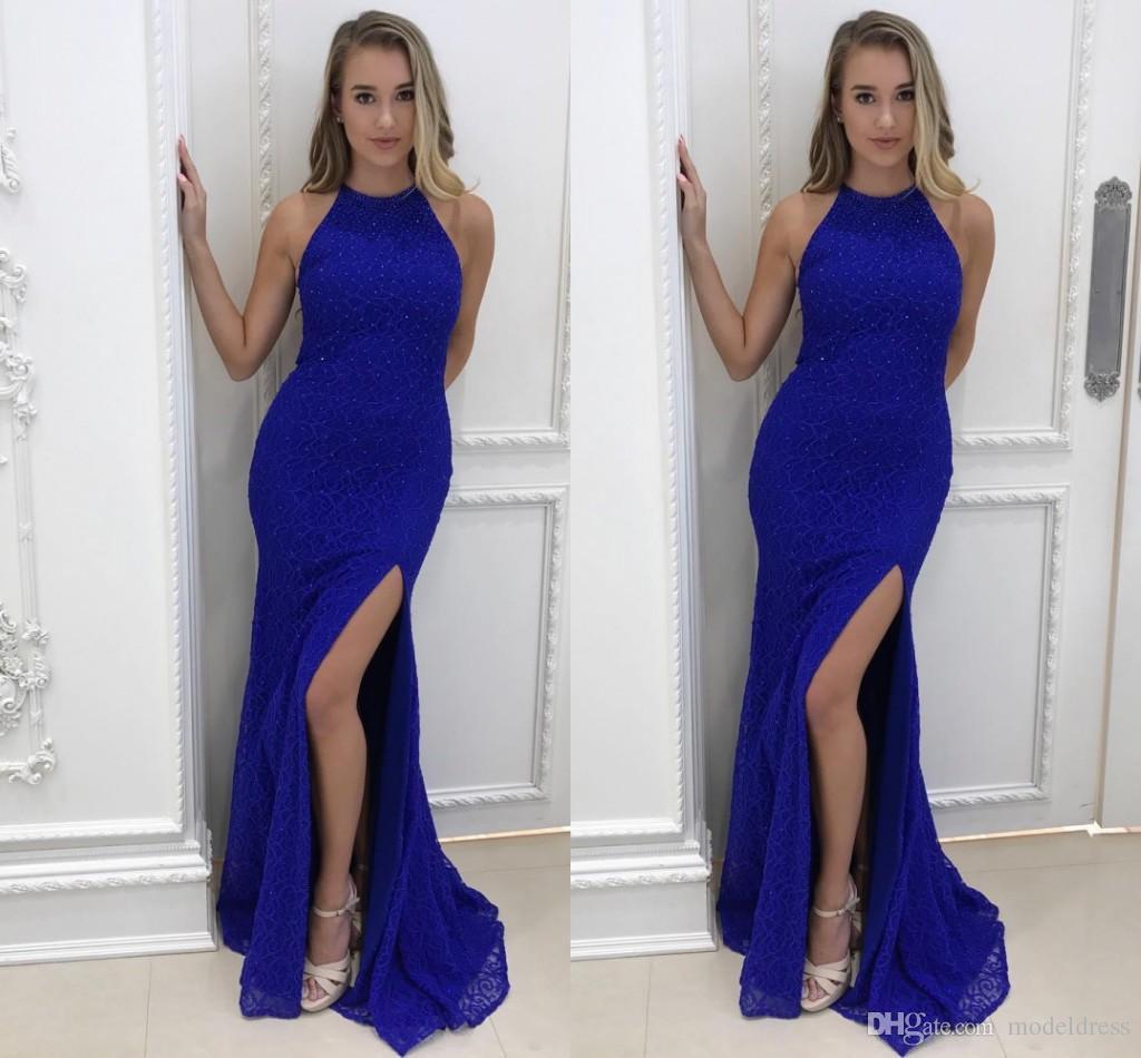 Royal Blue Split Prom Dresses 2018 Halter Neckline Mermaid Pearls ...