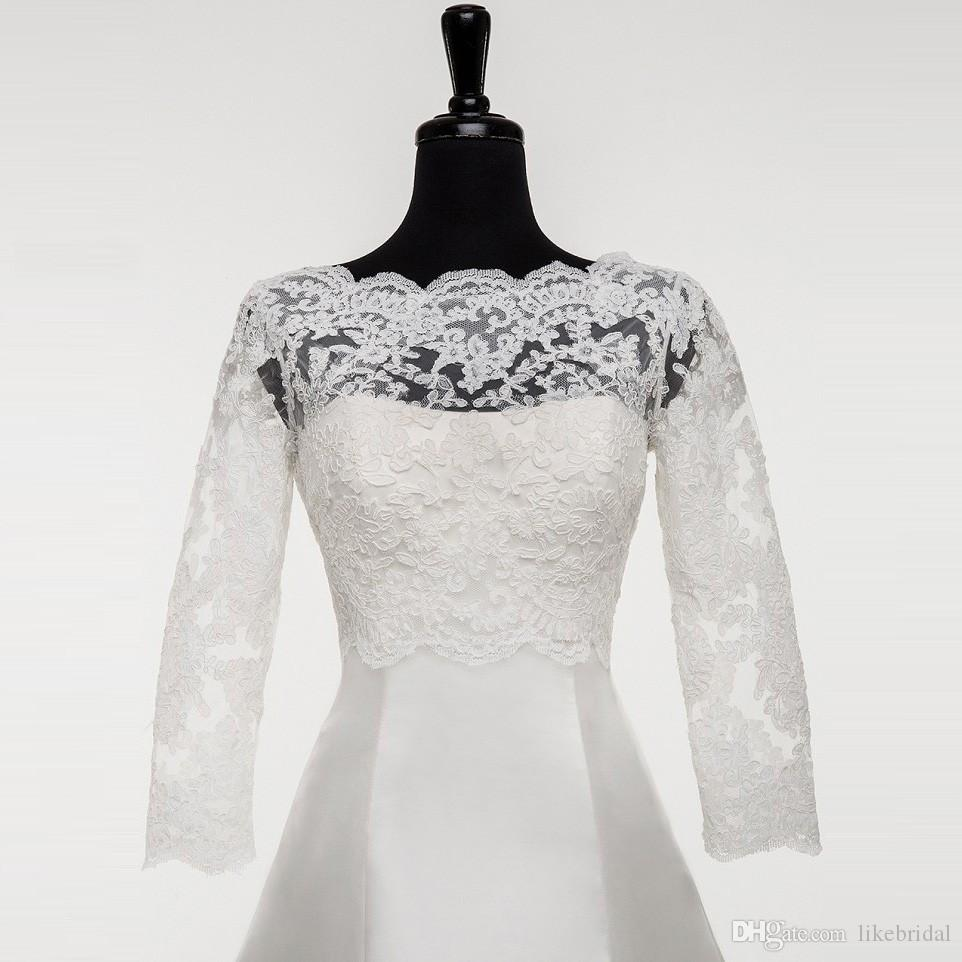 Best Seller Wedding Jacket with Sleeves 2019 Boat Neck Appliqued Lace Bridal Jacket Bolero 3/4 Sleeves Buttons Back Custom Made