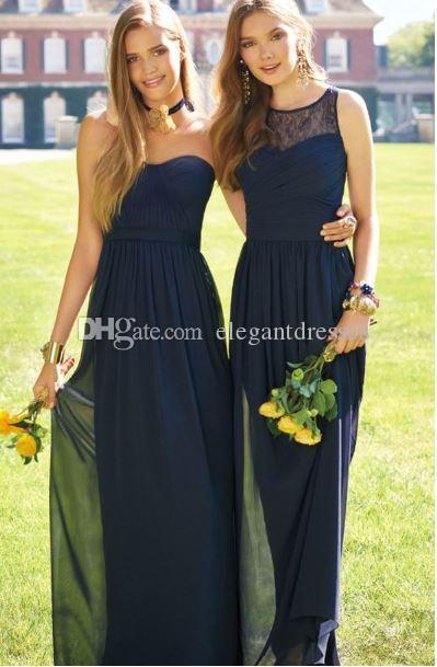 2017 Melocotón Una línea Maid of Honor Vestidos Vestidos largos baratos Vestidos de dama de honor Términos de gasa de verano Vestidos de dama de honor a medida.