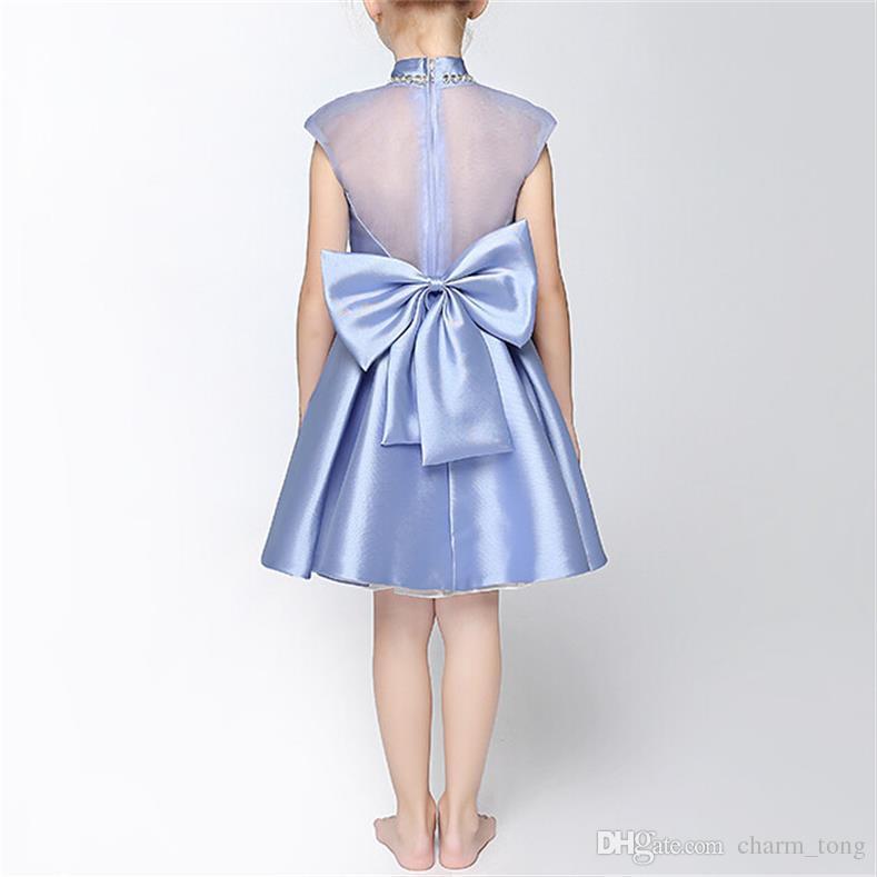 Marca Dresses Party Girl alta Neck New Flower Pageant vestido da comunhão de casamento das meninas Kids / Crianças Princess Dress