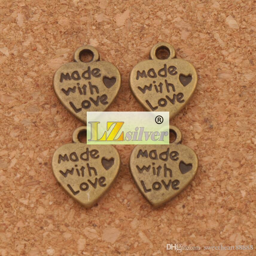Aşk Kalp Charm Boncuk Kolye Ile Yapılan MIC 9.7x12.5mm Antik Gümüş / Bronz Moda Takı DIY L319