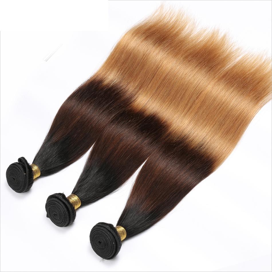 بيرو مستقيم الإنسان الشعر ريمي الشعر ينسج أومبير 3 نغمات 1B / 4/27 لون مزدوج اللحمات 100G / PC يمكن مصبوغ