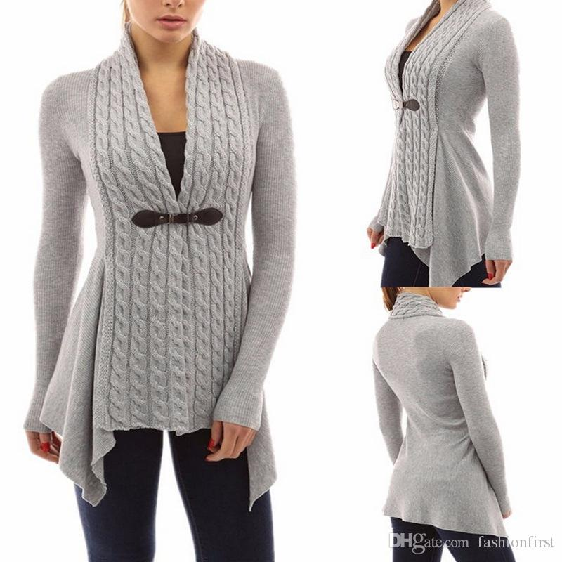 2018 Stylish Ladies Women Casual Knit Cardigan Jacket Irregular ...