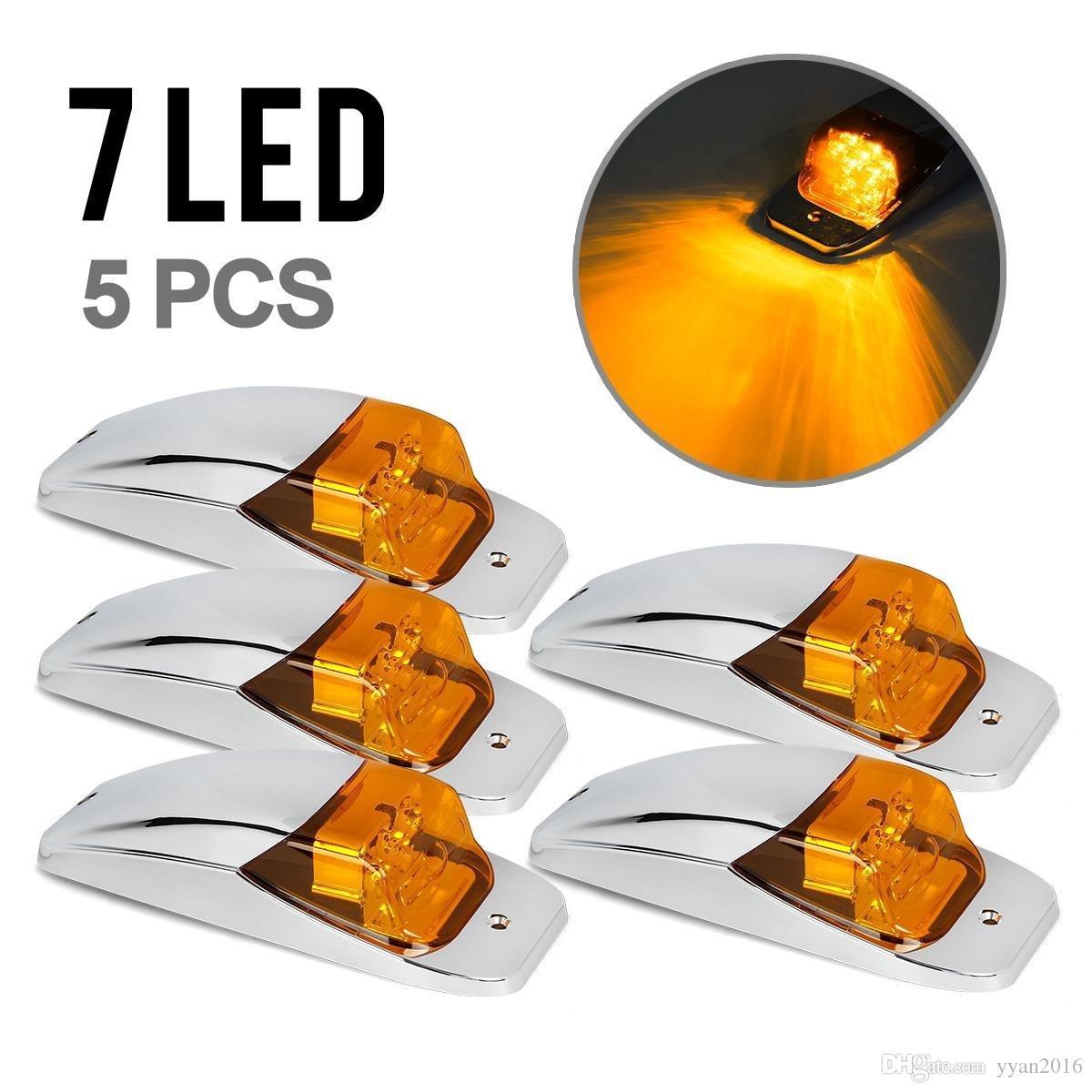 5xM27011Y Bernstein / Gelb 7 LED Chrome Obere Kabine Marker Umrissleuchten für Lkw-anhänger Freightliner Kostenloser versand
