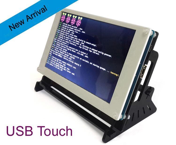 Freeshipping USB Touch Control 7 inch LCD Display for Raspberry Pi 3 Model  B RPI 2 Banana Pi /Beaglebone Black/Pidora/Raspbian/linux/XBMC