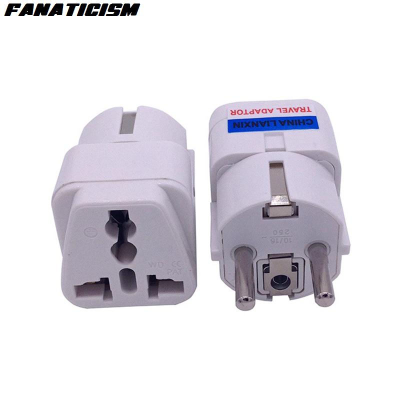 Fanaticism Top Quality Universal UK US AU To EU Plug Adapter Korea Europe AC Power Electrical Plug Adaptor 4.8MM Pins Socket Converter