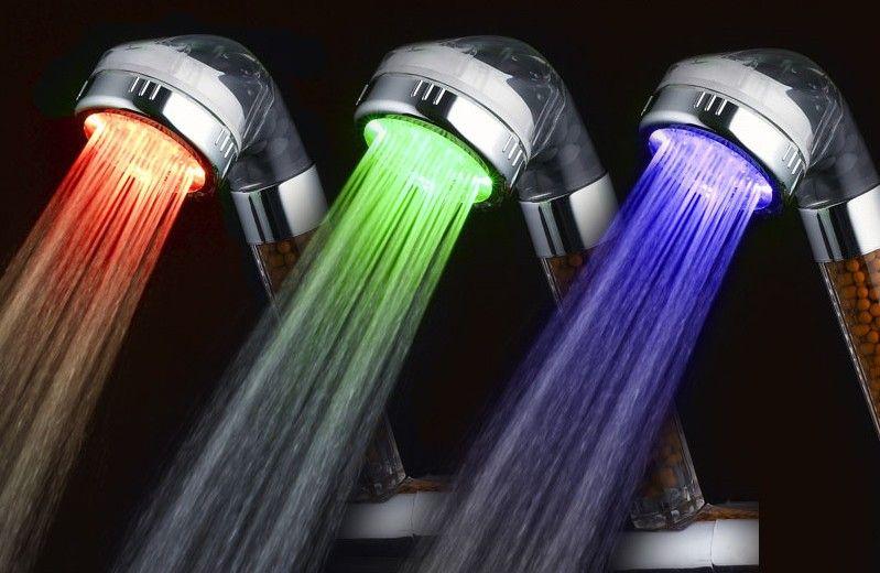 Красочный светодиодные дожди Съемная отрицательные ионы автоматического управления Глава фототерапии Health Care Душевые лейки с водой под давлением Saving 23jt2