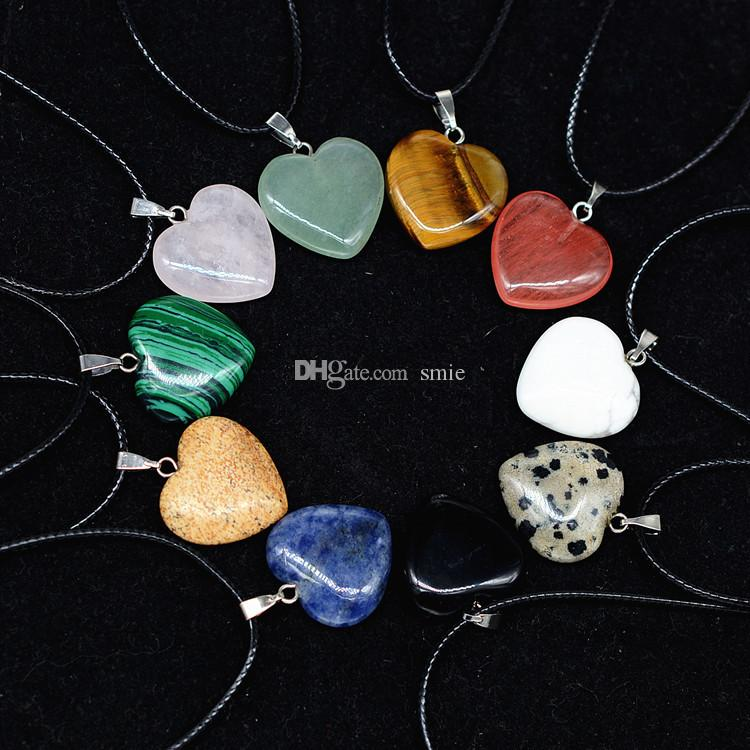 Fashion Women Jewelry Love Heart Gemstone Rock Crystal Quartz Chakra Natural Stone Charm Pendant Necklace