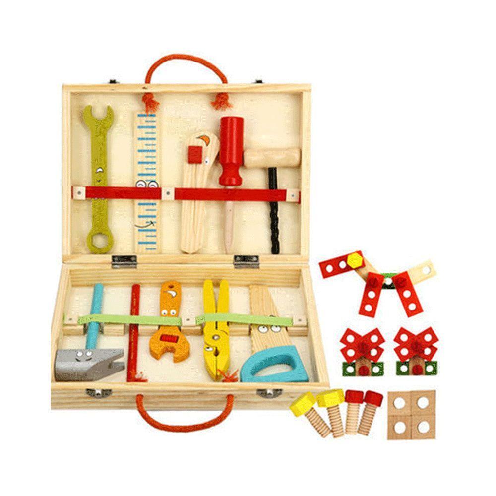 Bebé Juguetes de madera Niños Caja de herramientas multifuncional de madera Herramienta de construcción Juguetes Set Bebé Aprendizaje Educación Chirstmas / Regalo de cumpleaños