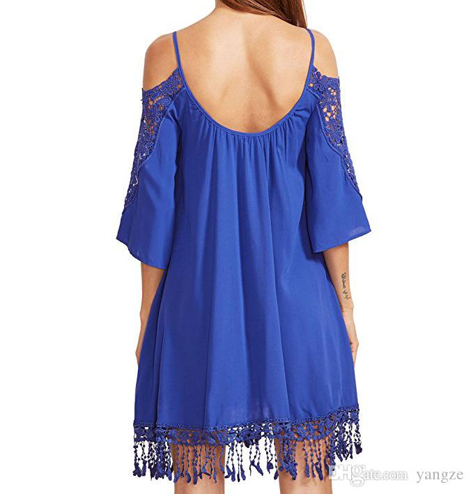 Hot Selling Summer Dresses for Women Clothes Fashion Cold Shoulder Crochet Lace Sleeve Loose Beach Dress S-XXL ZL3056
